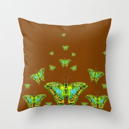 GREEN-YELLOW MOTHS ON COFFEE BROWN Throw Pillow