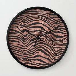 Rose Gold & Black Animal Stripes Wall Clock
