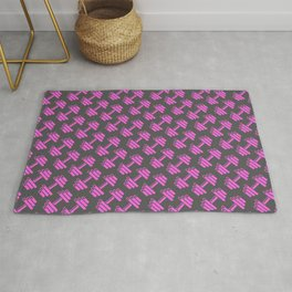 Dumbbellicious PINK GREY Rug