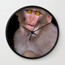 Young Rhesus Macaque Paintover Effect Wall Clock