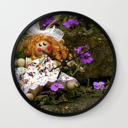 Clothes Peg Doll and Flowers Wall Clock