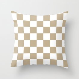 Checkered - White and Khaki Brown Throw Pillow