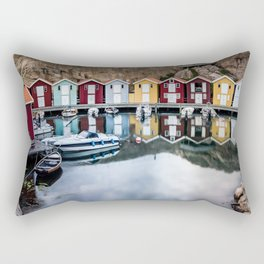 Colorful Old Fishing Huts on the Smögen Boardwalk Rectangular Pillow