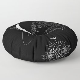Modern minimalist female line drawing, woman holding crescent, mythology and mystical illustration Floor Pillow