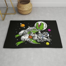 Astronaut Riding T-Rex Dinosaur Rug