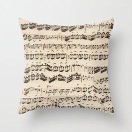 Johann Sebastian Bach (1685 – 1750) original music sheet Throw Pillow