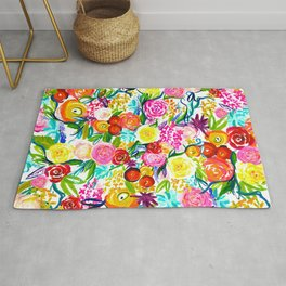 Neon Summer Floral // Small print Rug