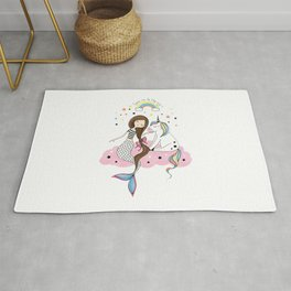 Mermaid & Unicorn White background Rug