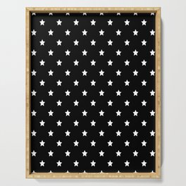 Black Background With White Stars Pattern Serving Tray