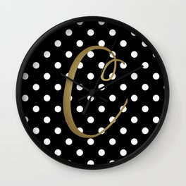 "Retro Black + White Polka Dot + Faux Gold Foil ""C"" Monogram Wall Clock"