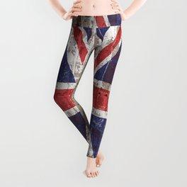 UK National Flag United Kingdom Union Jack on Brick Leggings