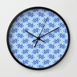 Symmetric patterns 198 dark and light blue Wall Clock