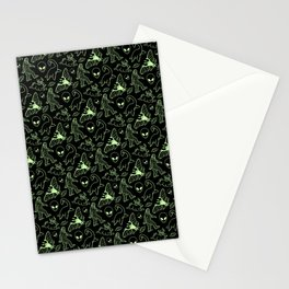 Cryptid Pattern: Green Lines Stationery Cards