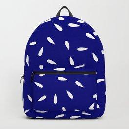 White Raindrops on Blue Navy Backpack