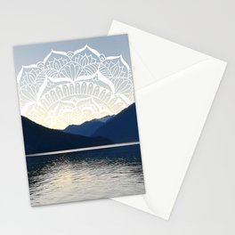 Pacific Northwest Lake Mandala Sunset Stationery Cards