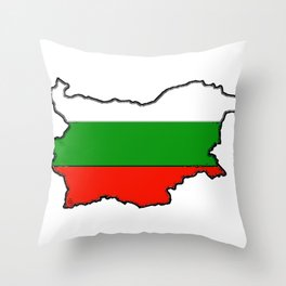 Bulgaria Map with Bulgarian Flag Throw Pillow