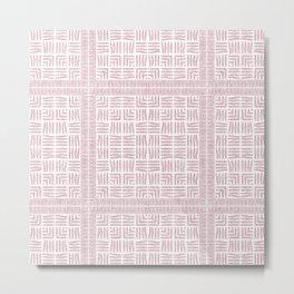 Nappy Faux Velvet Framed Weave in Pale Pink Metal Print
