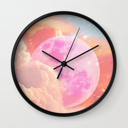 Pink Moon Landscape Wall Clock