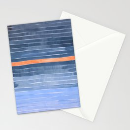 EnShape Minimalist Midcentury Stripes Pastel Paynes Grey Pastel Blue Marine Color Palette Tan Accent Stationery Cards