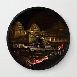 Pandemonium (Hell) Landscape Painting by Jeanpaul Ferro Wall Clock