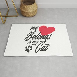 Funny My Heart Belongs to My Cat Valentine Calligraphy Rug