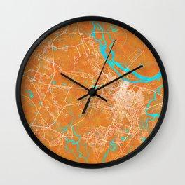Savannah, GA, USA, Gold, Blue, City, Map Wall Clock