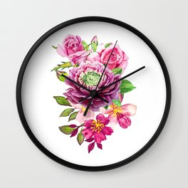 Flower bouquet. Roses watercolor Wall Clock