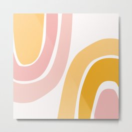 Abstract Shapes 37 in Mustard Yellow and Pale Pink Metal Print
