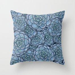 Blue Succulent Pattern Throw Pillow