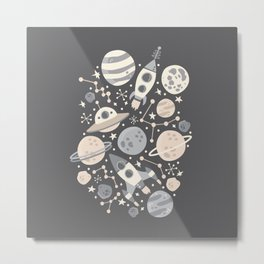 Space Black & White Metal Print