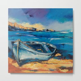 Blue Boat on the mediterranean beach Metal Print