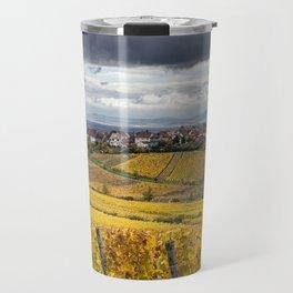 France Riquewihr Vineyard Autumn Nature Fields Houses Cities Building Travel Mug