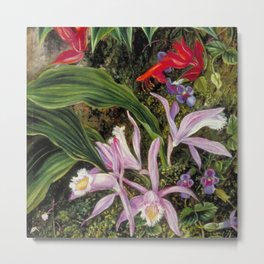 Tropical Wildflowers, Birds of Paradise and Orchids still life painting Metal Print