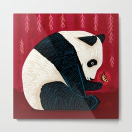The Panda and the Butterfly Metal Print