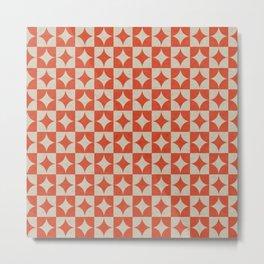 Starshine - Retro star geometric pattern hand drawn on old paper texture illustration Metal Print