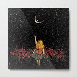 Wonderland Smiling Starry Night - Alice In Wonderland Metal Print