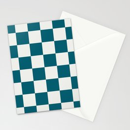 Off White and Tropical Dark Teal Inspired by Sherwin Williams 2020 Trending Color Oceanside SW6496 Large Checker Board Pattern Stationery Cards