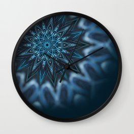 Blue Ice Swirl mandala Wall Clock