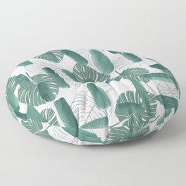 Modern green white watercolor tropical floral brushstrokes Floor Pillow