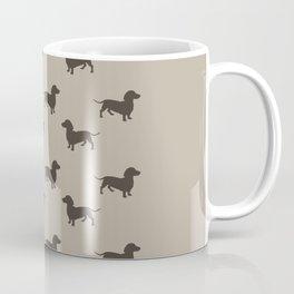 Dachshund Pattern - Tan Coffee Mug