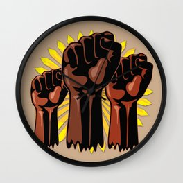 Black Power Raised Fists Wall Clock