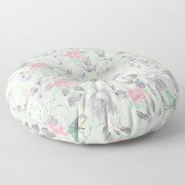 Vintage Pink White Mint Green Bird Floral Collage Floor Pillow