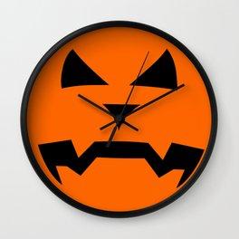 """Kerouac"" Jack O'Lantern - Halloween, Pumpkin, Orange, Black Wall Clock"