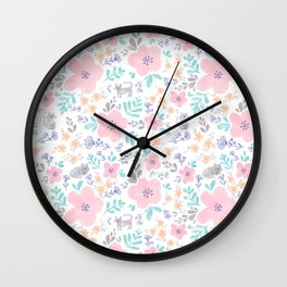Cats and Flowers Wall Clock