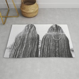 Woman of the Mbalantu African Tribe and Their Traditional Floor-Length Natural Braided Hair black and white photograph Rug
