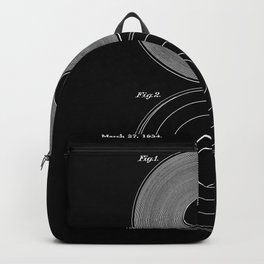 Phonograph Record Vintage Patent Black Art Print Backpack