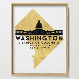 WASHINGTON D.C. DISTRICT OF COLUMBIA SILHOUETTE SKYLINE MAP ART Serving Tray