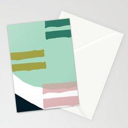 Mid-Century Modern Minimalist Geometric In Mint & Pink Stationery Cards