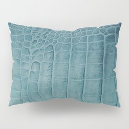 Croco leather effect - Aqua blue Pillow Sham