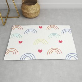 A Simple seamless texture with colorful rainbows and hearts for valentine's day or for kids. Rug